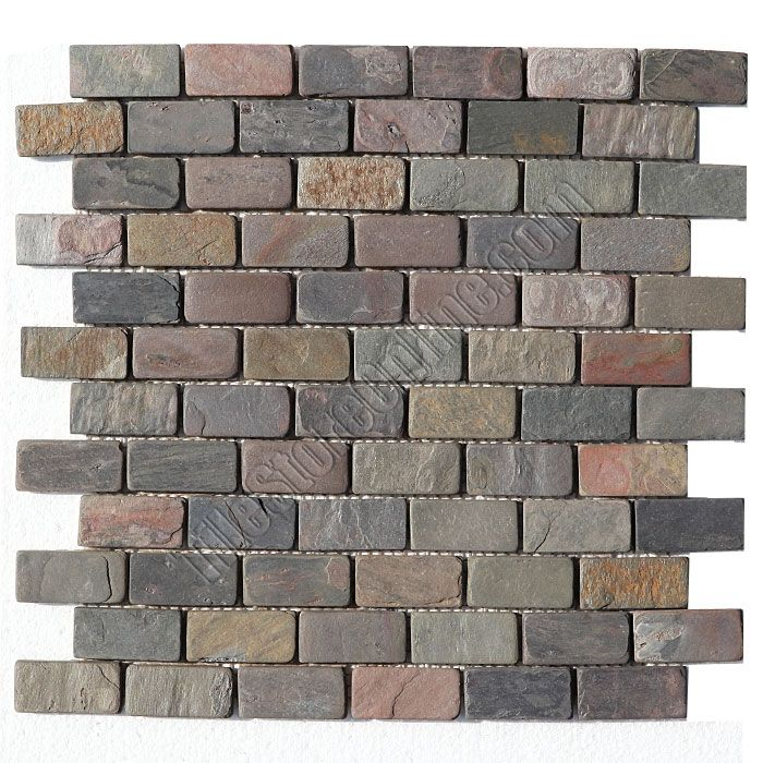 Slate Mosaic 1 X 2 Brick Subway Multicolor Tumbled