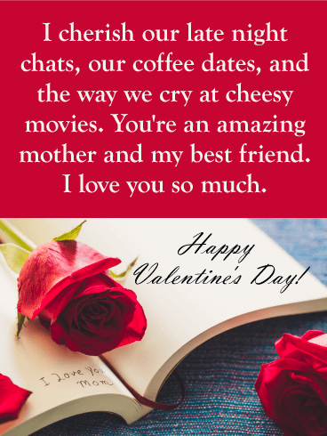 I Love You Mom Happy Valentine S Day Card For Mother Daughters And