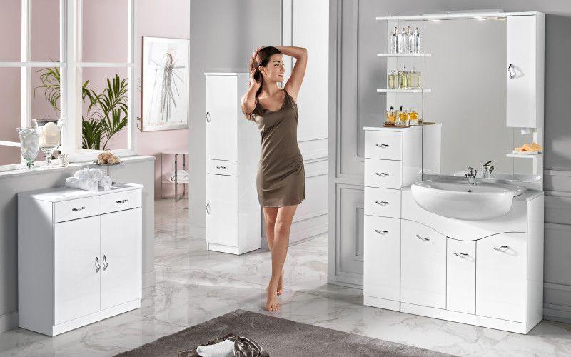 Pensile bagno ~ Onda: componibile bagno con pensile a destra bianco misure
