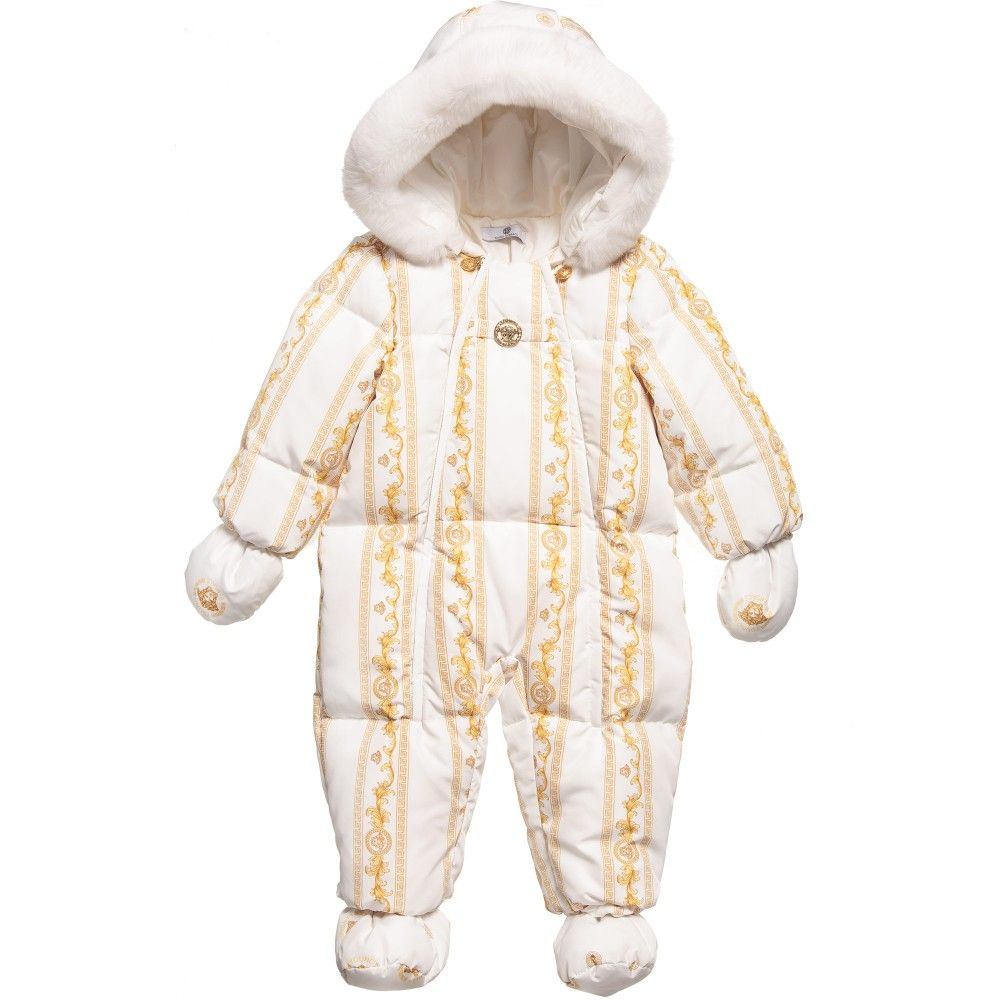 6c251eae6 Young Versace Baby Girls 'Cornici' Down Padded Snowsuit with Fur at  Childrensalon.com