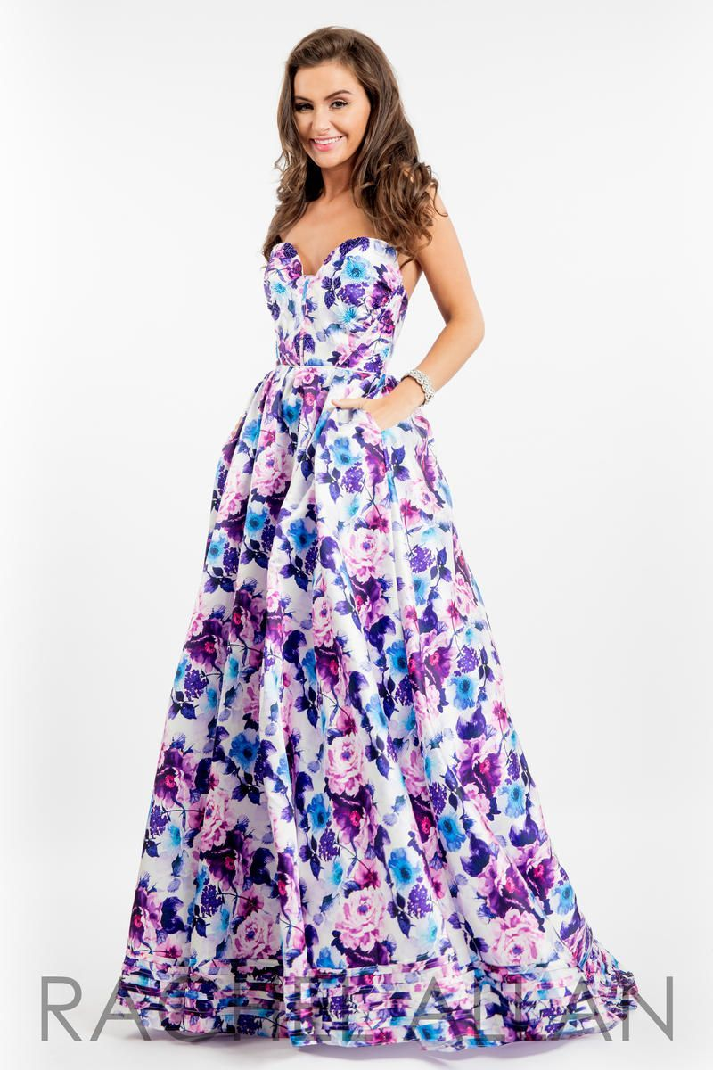 Rachel Allan 7527 Floral Print Gown with Pockets