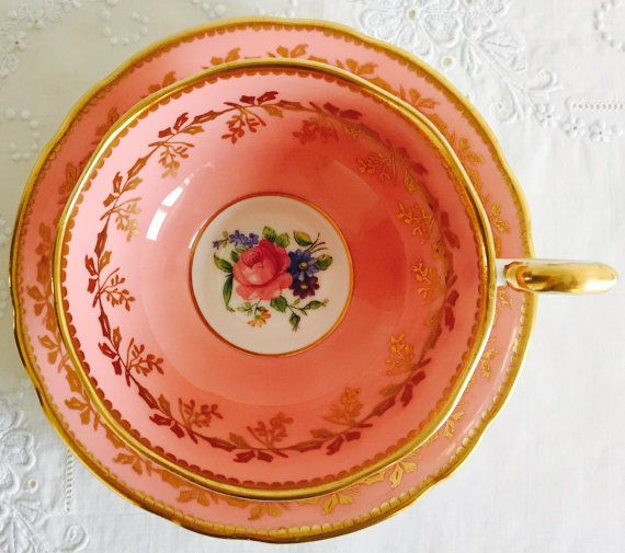 Exquisite Vintage Aynsley English Fine Bone China Teacup & Saucer Tea Set Pink Footed Cup with Ornate Gilding Pretty Floral Pattern