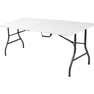 Mainstays 6 Foot Long Center Fold Table Multiple Colors 42 Folding Table Folding Dining Table Table And Chairs