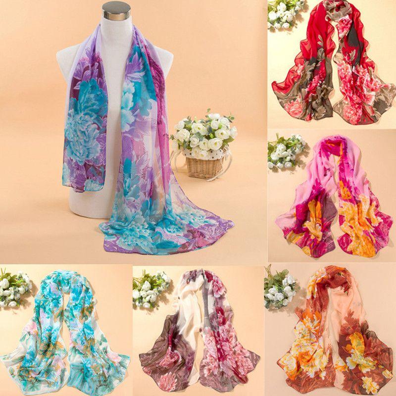 2016 패션 여성 쉬폰 스카프 여름 새로운 모란 인쇄 우아한 레이디 숄 스카프 실크 스카프 8 색 160 50 센치메터