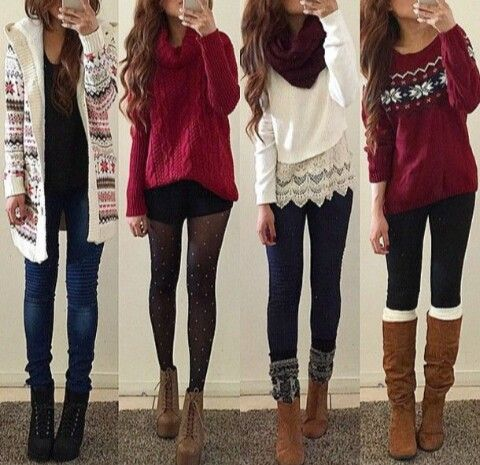Teens in winter tights