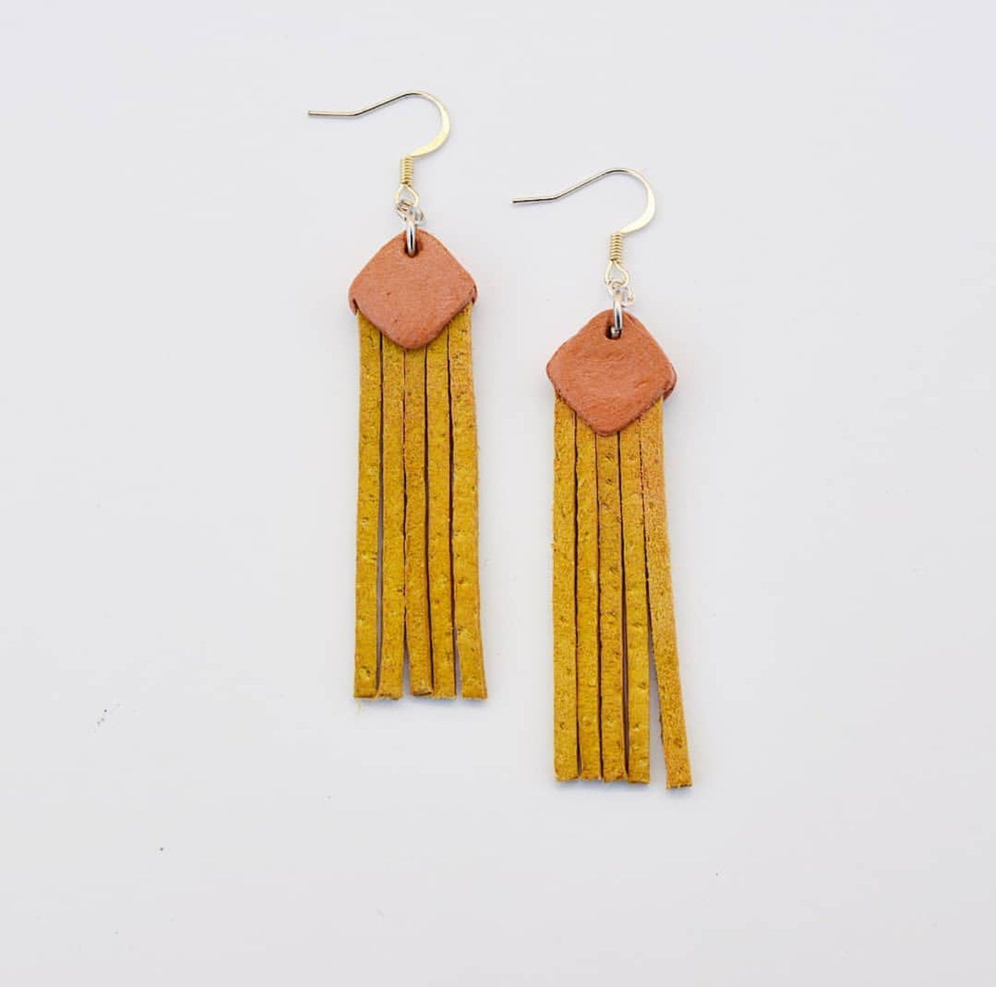 45 Handmaed Boho Fringe Tel Dangle Earrings Etsy The Grier Diamond Shaped