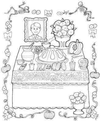 Dibujos Para Colorear De Dia De Muertos Altar De Muertos Altares