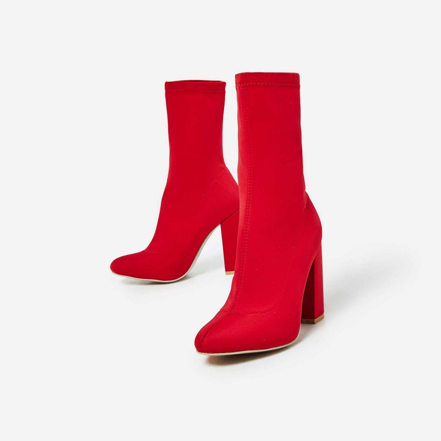 Hayden Block Heel Sock Boot In Red