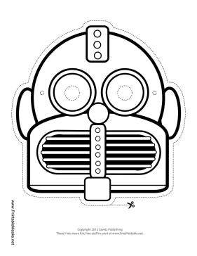 Printable Round Horizontal Robot Mask To Color Mask Robot Mask Robot Mask