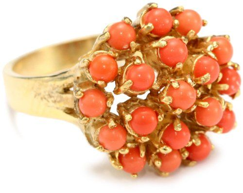 "Alberto Juan ""Prohibition Cocktail Rings"" Vermeil Coral Cluster Ring"