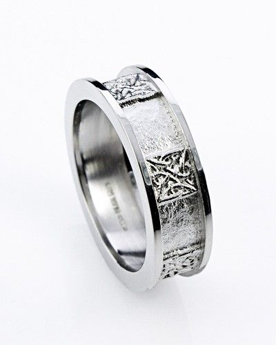 Flat Profile Black Zirconium Celtic Wedding Ring Celtic wedding