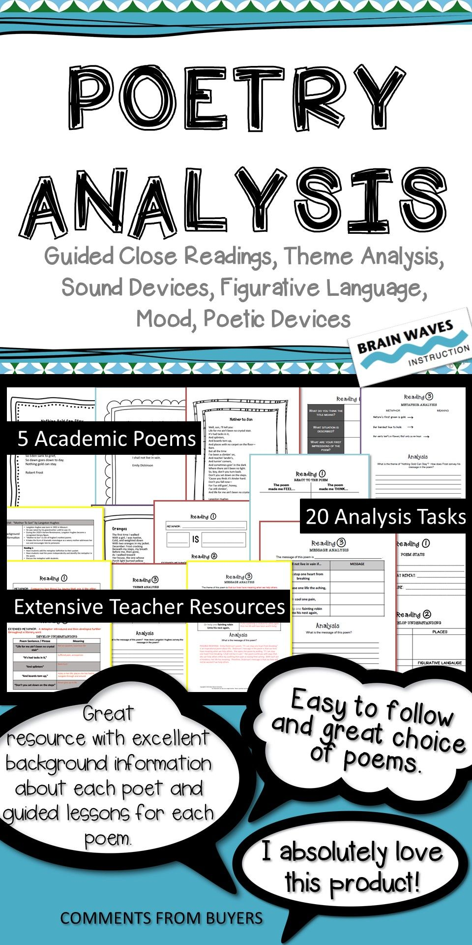 Poetry Analysis Unit 5 Poems 20 Analysis Tasks