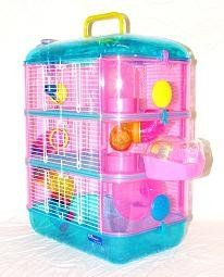 Hamster Cage Neon Leo 3 Apartment Gerbil Mouse Blue Top Pink Sides