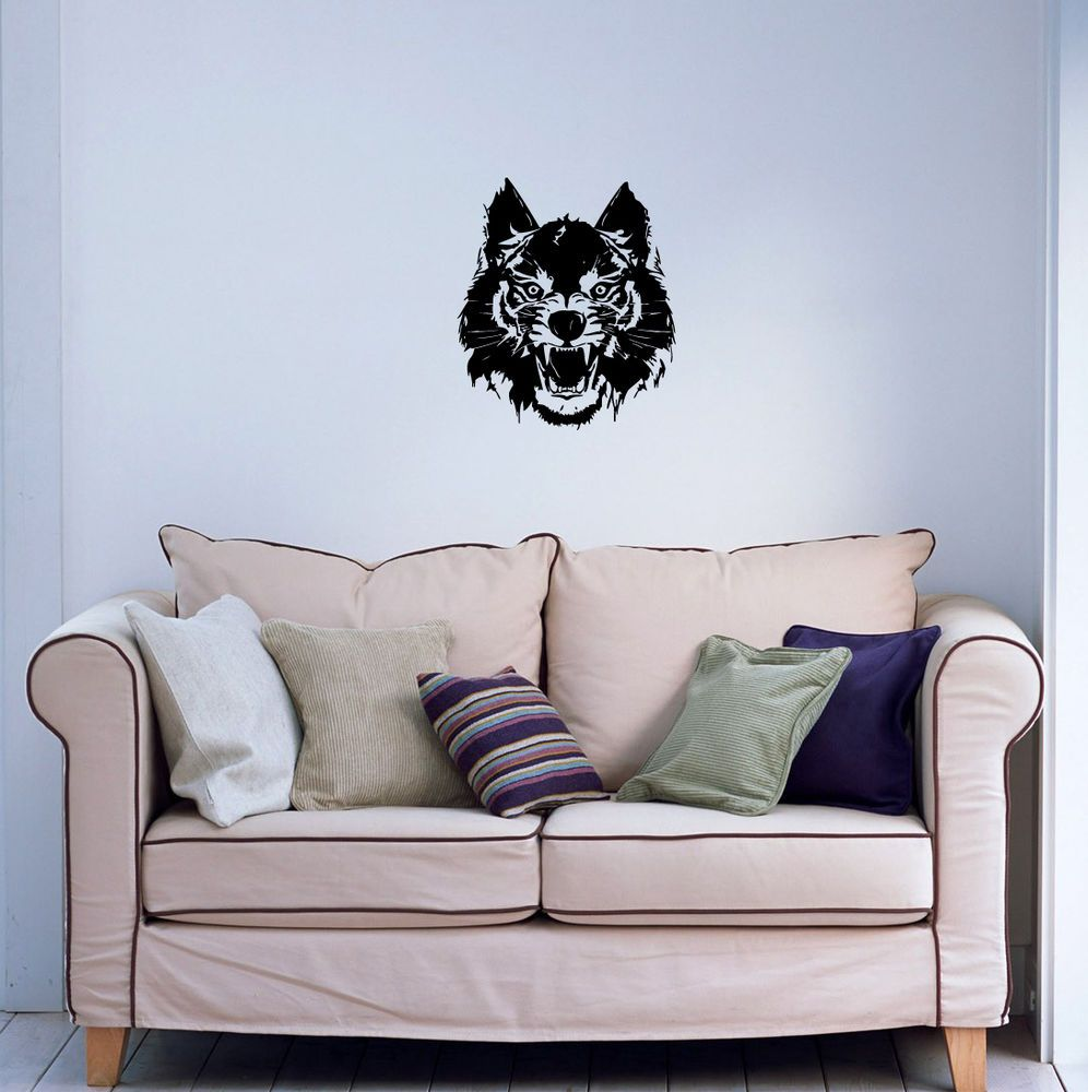 Wall viinyl sticker decal art mural predatory wolf head cute design