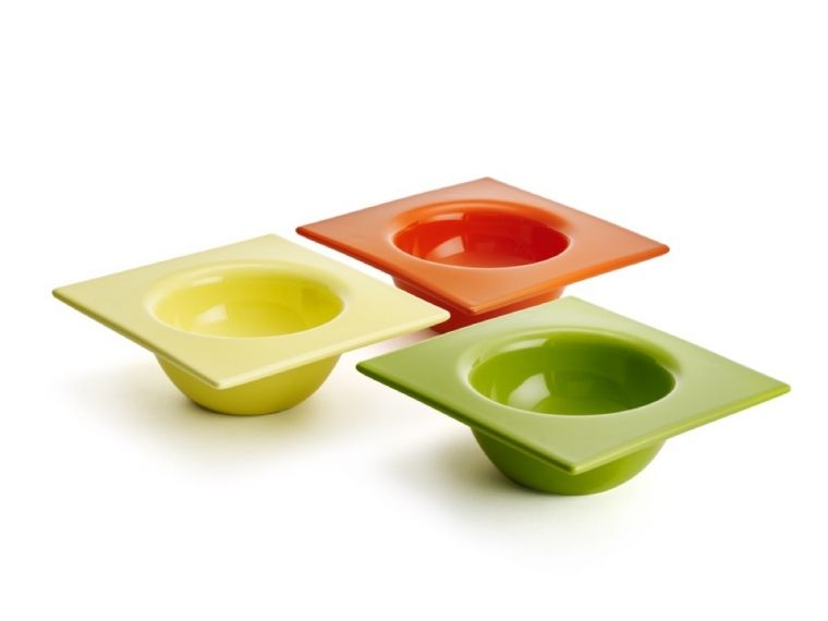 Squared Circle Bowl Set Of 3 Green Orange And Yellow By