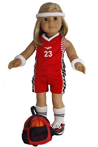 White Basketball Outfit for American Girl Dolls 18 Inch Doll Clothes