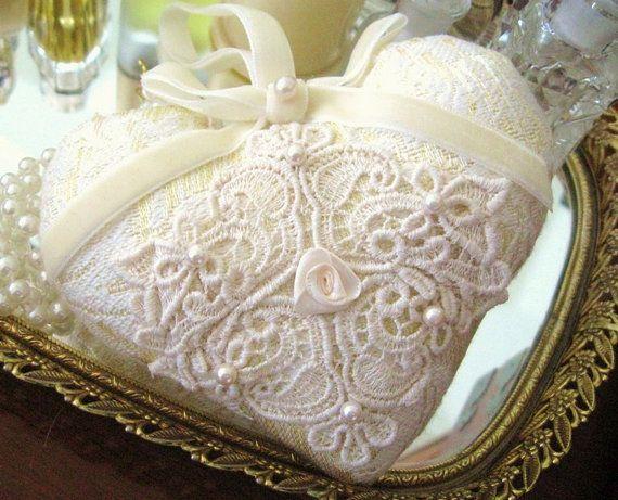 Heart DOOR HANGER Cream Ivory Gold Damask Venise door CharlotteStyle