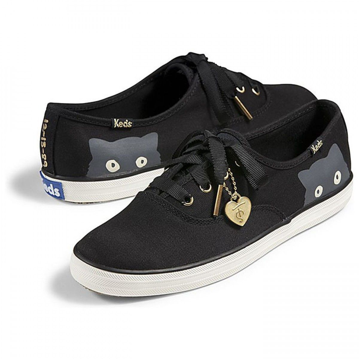 Womens Keds Shoes Black Taylor Swift Champion Sneaky Cat Classic Canvas