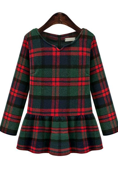 d4f0a6d96718 Red and Green Holiday Plaid! Red and Green V Neck Plaid Ruffle Dress ...