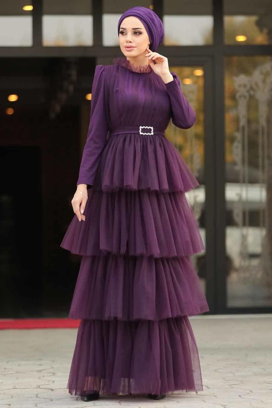 Tesetturlu Abiye Elbise Firfirli Murdum Tesettur Abiye Elbise 39950mu Tesetturisland Com Elbise Elbise Dugun Blok Elbise
