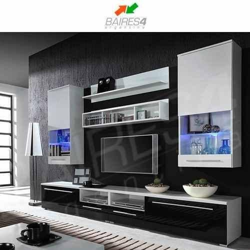 Modular lcd rack panel tv moderno living fabrica baires 4 for Muebles organizadores para living