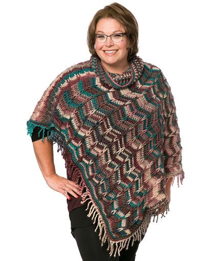 Marlys Perfect Simple Cowl Poncho Free Crochet Pattern From Red