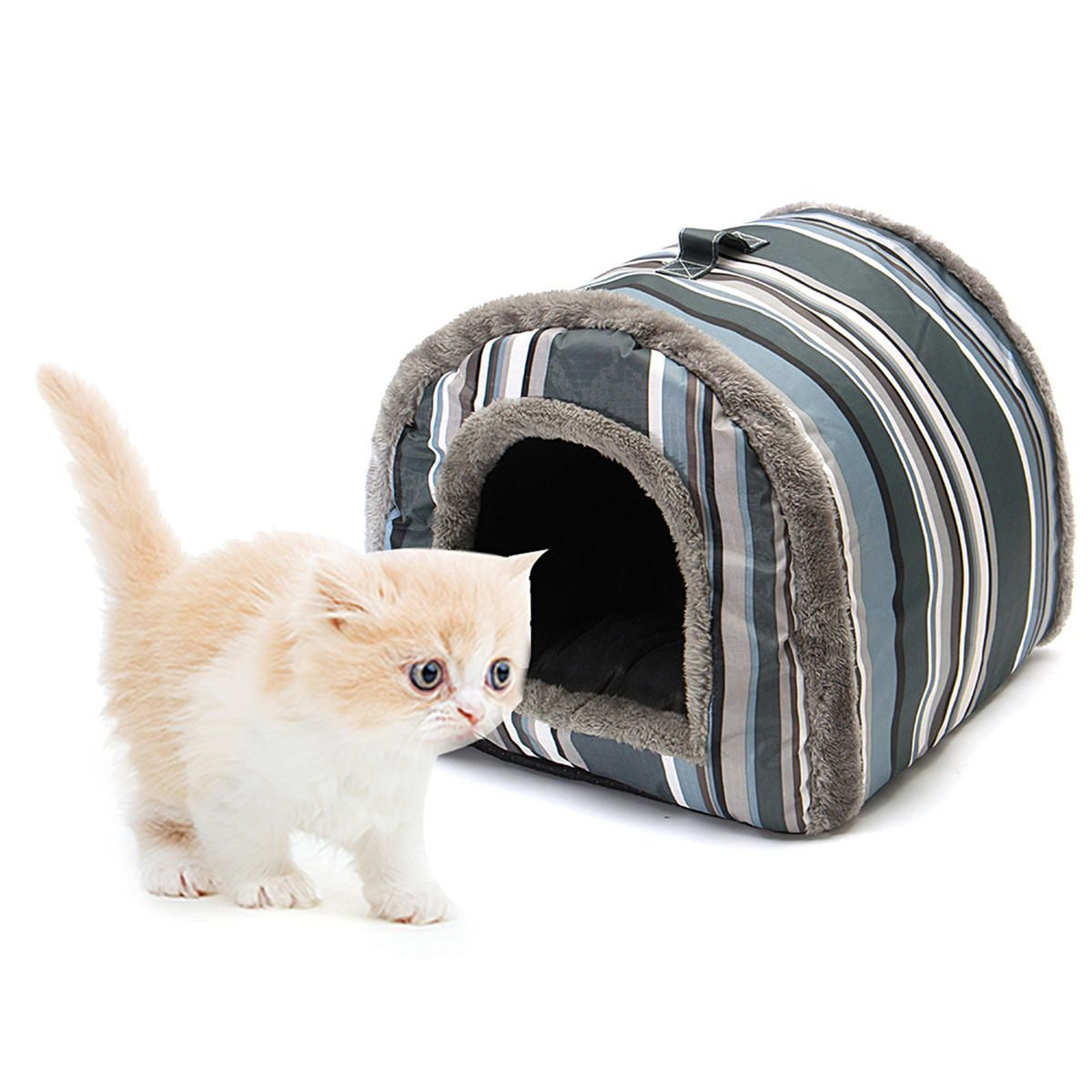 S L Pet Cat Dog Nest Bed Puppy Soft Warm House Sleeping Mat 2 Usage Cattery Warmcathouse Cat Pet Supplies Cattery Outdoor Cat House