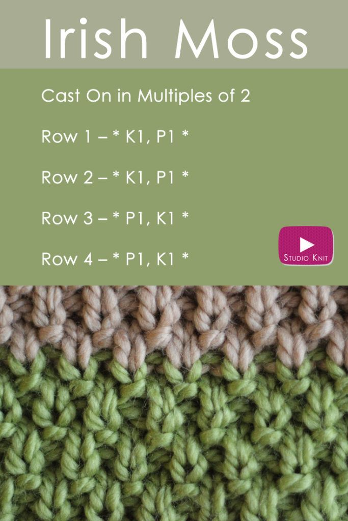 How to Knit the IRISH MOSS Stitch Pattern with | Pinterest ...