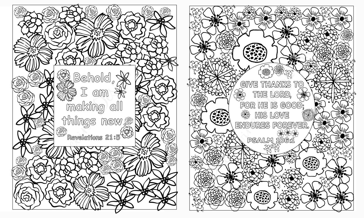 Flower coloring pages Bible verse coloring sheets. Set of 5 Instant ...