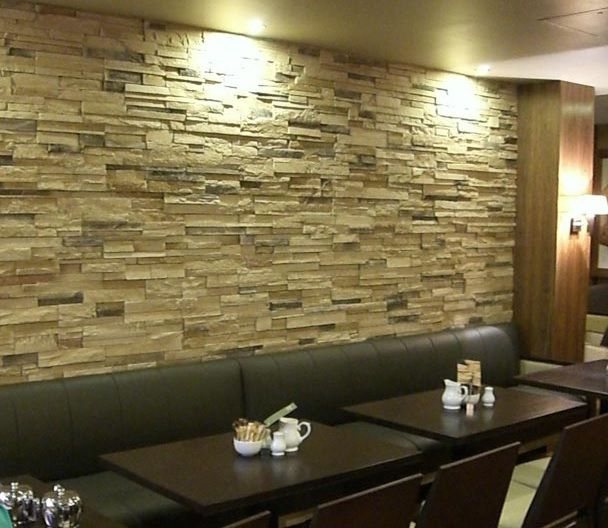 33 Best Interior Stone Wall Ideas And Designs For 2019: A Unique Wall Feature Made From A Classic Beige Selection