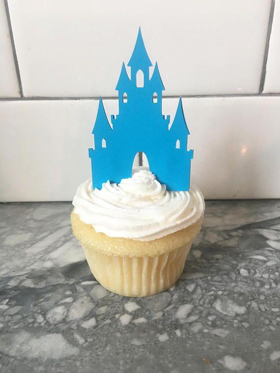 blue princess castle cupcake toppers birthday party decor - Blue Castle Decor