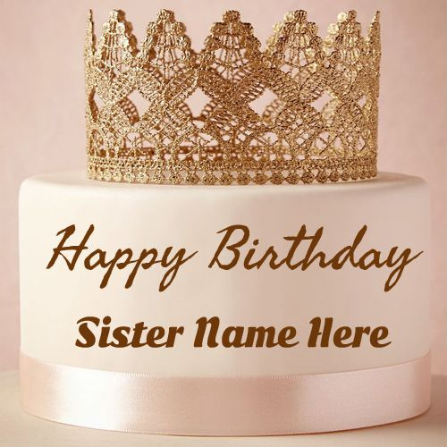 Happy Birthday Greeting Card For Sister With Name Editor Free Write On