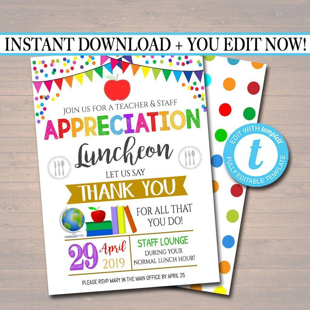 Teacher Staff Appreciation Week Breakfast Or Luncheon Printable Invitation Staff Appreciation Week Staff Appreciation Teacher Appreciation