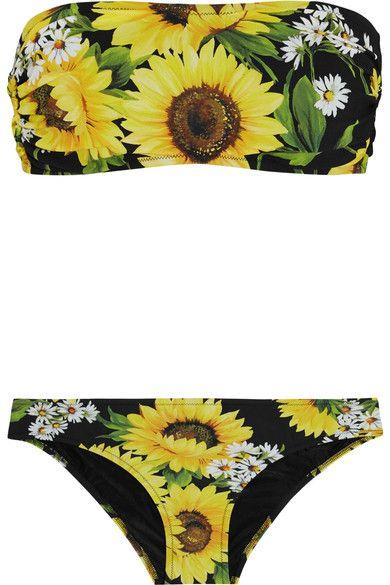 586cd04658846 DOLCE & GABBANA Floral-Print Bandeau Bikini. #dolcegabbana #cloth #beachwear