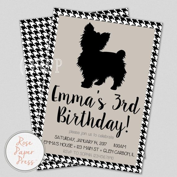 dog birthday party invitation modern by rosepaperpress on etsy - Dog Birthday Party Invitations