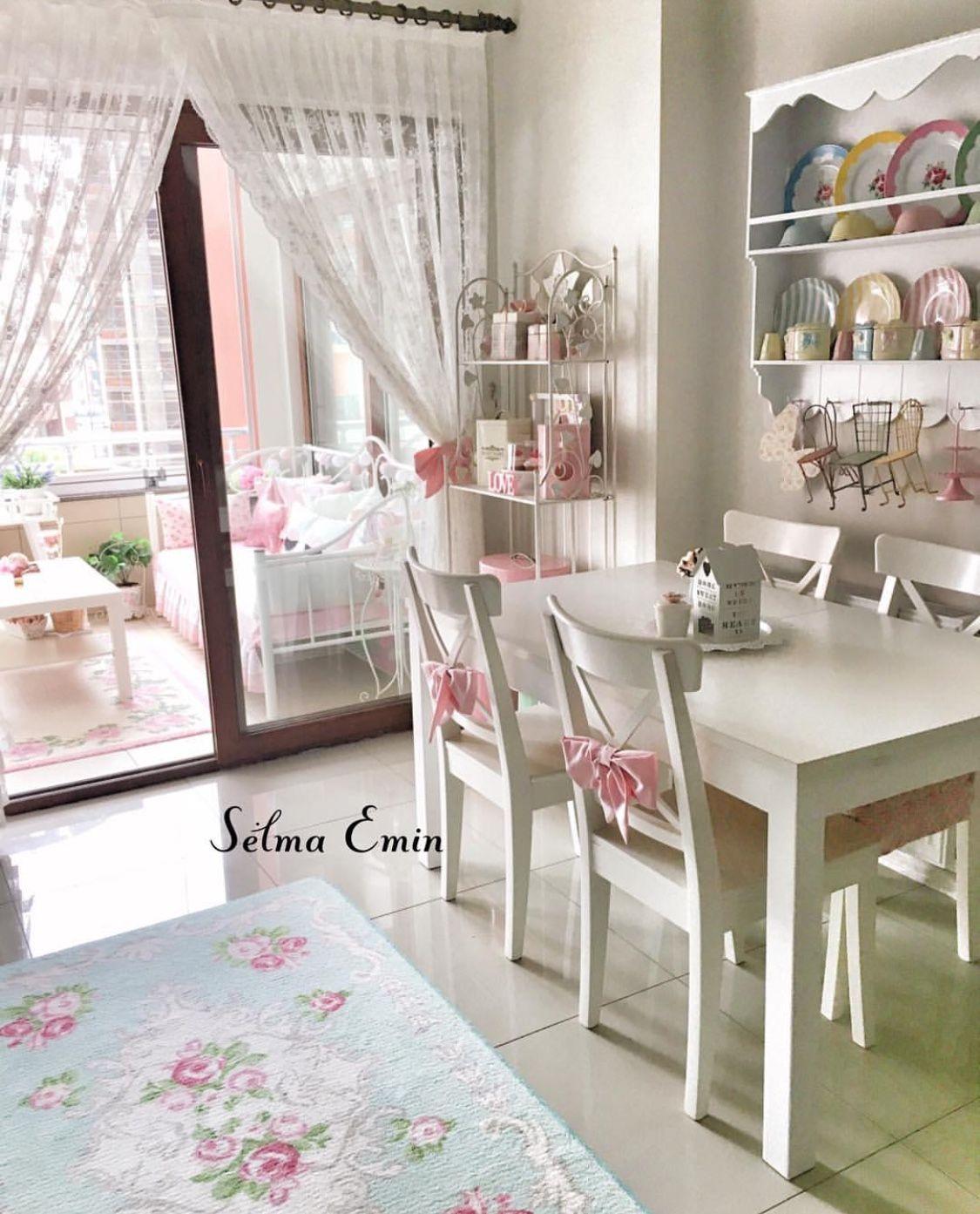 Shabby Chic Shelves Curtains Ruffled Dining Decor Kids Bedroom Shower