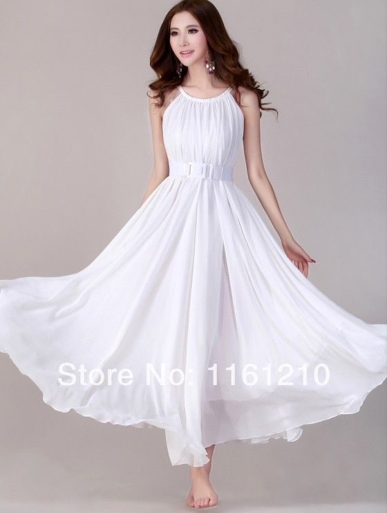 White summer holiday beach dress beach wedding party guest for White summer wedding dress