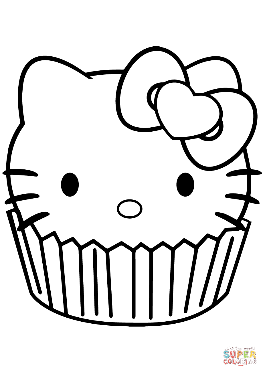 Hello Kitty Cupcake Super Coloring Hello Kitty Coloring Kitty Coloring Hello Kitty Colouring Pages