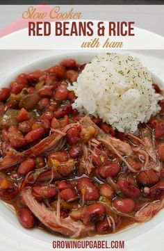 Slow cooker red beans and rice recipe is an simple and budget friendly dinner recipe for the Crock Pot. Made with ham, this easy meal is great for families! #crockpotgumbo