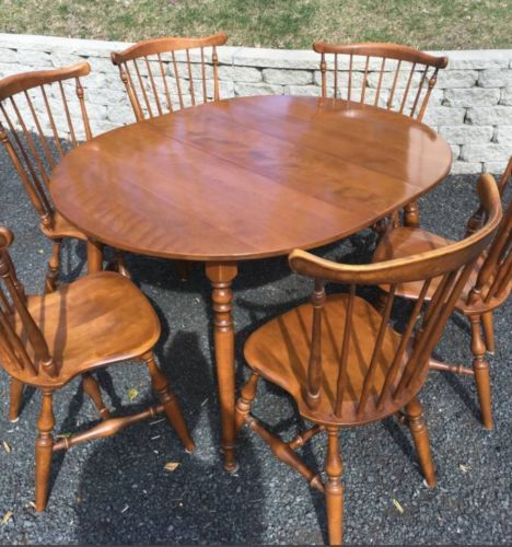 Ethan Allen Colonial Dining Kitchen Set 6 Windsor Chairs Table