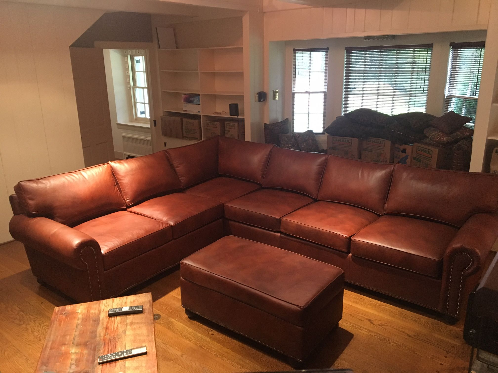 American Made Furniture >> Brown Leather Sectional Made By Of Iron And Oak In The Usa