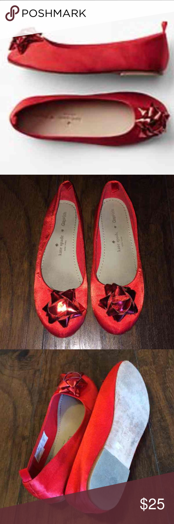 Kate Spade red bow flats by Gap Kids These are an adorable pair of kids flats from KS. Have been worn but lots of life left in them! kate spade Accessories