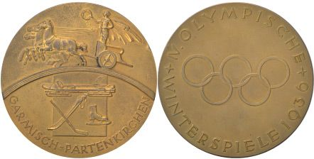Medalla olímpica de los IV Juegos Olímpicos Garmisch-Partenkircjen 1936 en Alemania