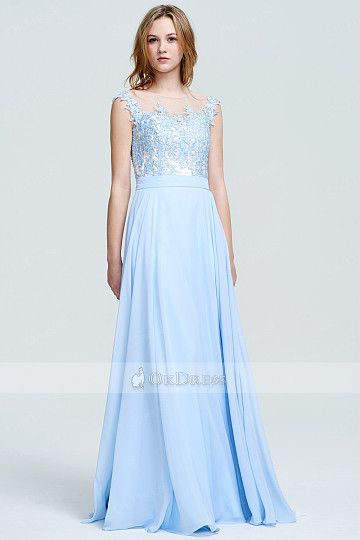 Stylish A-line/Princess Floor-length Sky Blue Prom Dresses for Sale ...