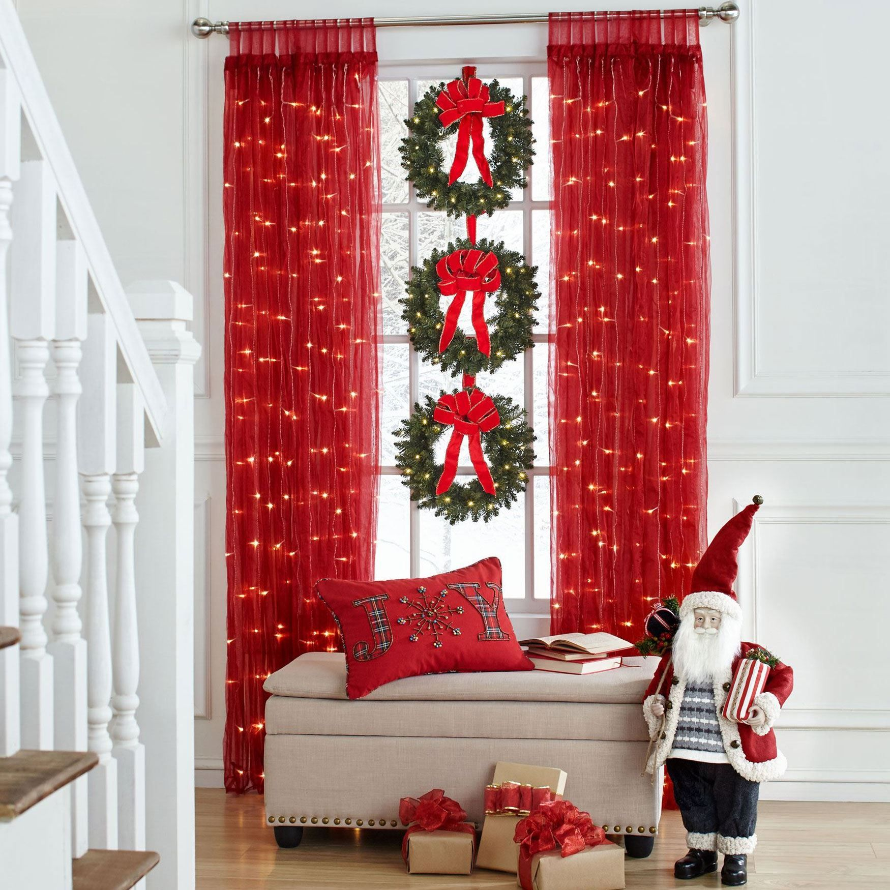 Pre-lit Tab-Top Curtain Panel | Elegant christmas decor ...