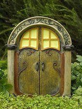 Miniature Dollhouse FAIRY GARDEN ~ Large Scrolled Glow in Dark Gnome Fairy Door