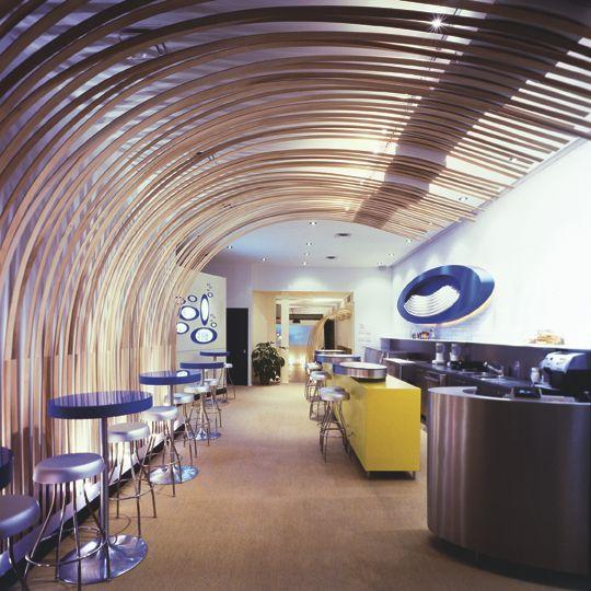 hospitality interior design restaurant cafe bar stool wave ceiling, Innenarchitektur ideen