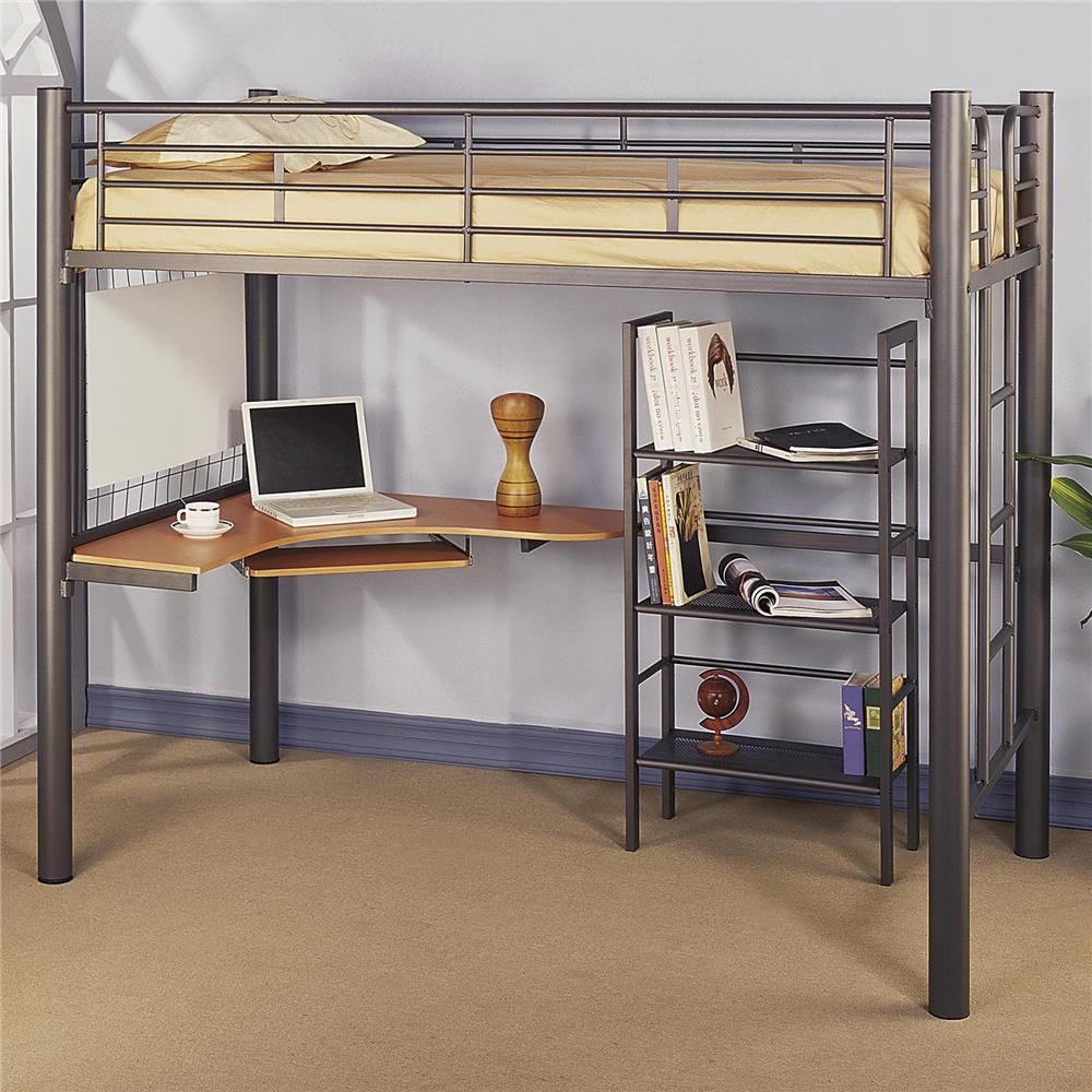 Statuette of Black Loft Bed with Desk Style Meets