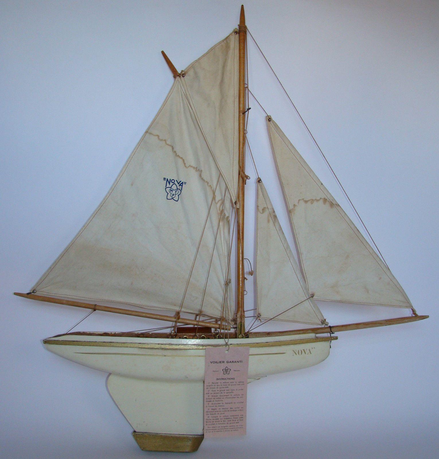 Canot de bassin bateau voilier nova n 6 4 voiles avec notice d 39 utilisation jouets et jeux - Voilier de bassin ancien nanterre ...