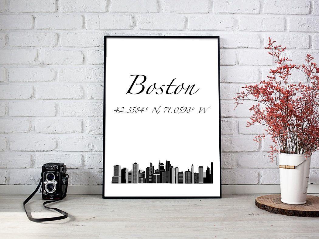 Boston Digital Art Print Instant Download City Coordinates Etsy In 2020 Digital Art Prints Office Prints Art Prints